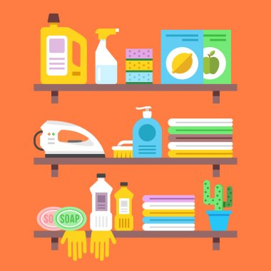 Household goods, household products on shelves. Flat vector illustration