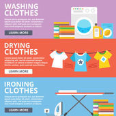 Fotografie Washing clothes, drying clothes, ironing clothes flat illustration set