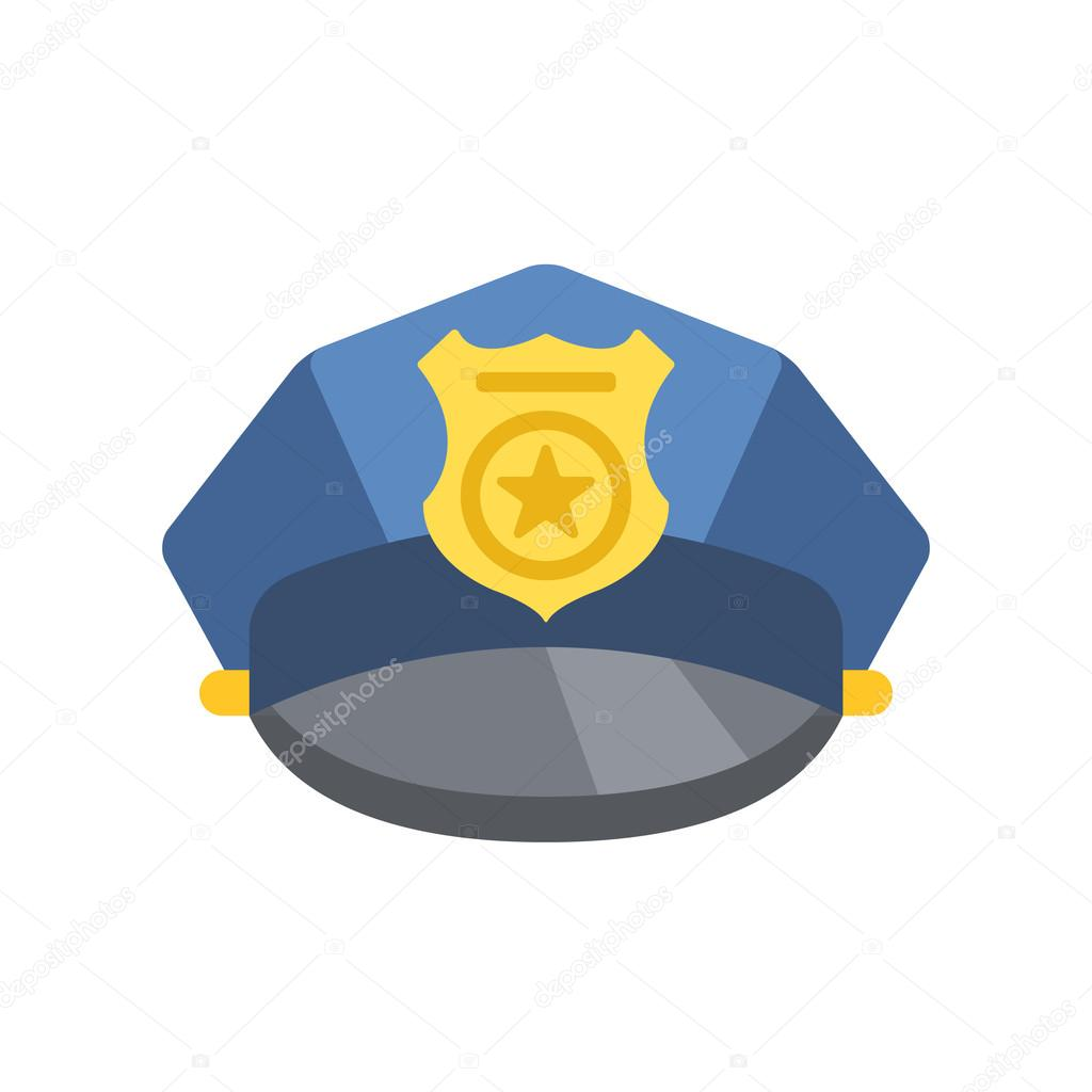 a9c62b48859 Police peaked cap. Vector police hat icon. Modern graphic design concept  for web banners