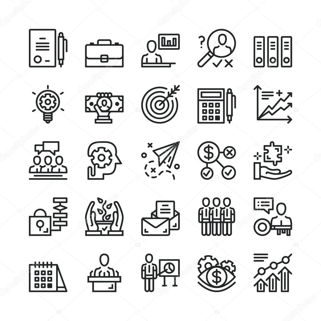 Line Art Icons : Thin line business icons set trendy web black