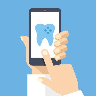 Hand holding smartphone with dental app on screen. Flat design vector illustration