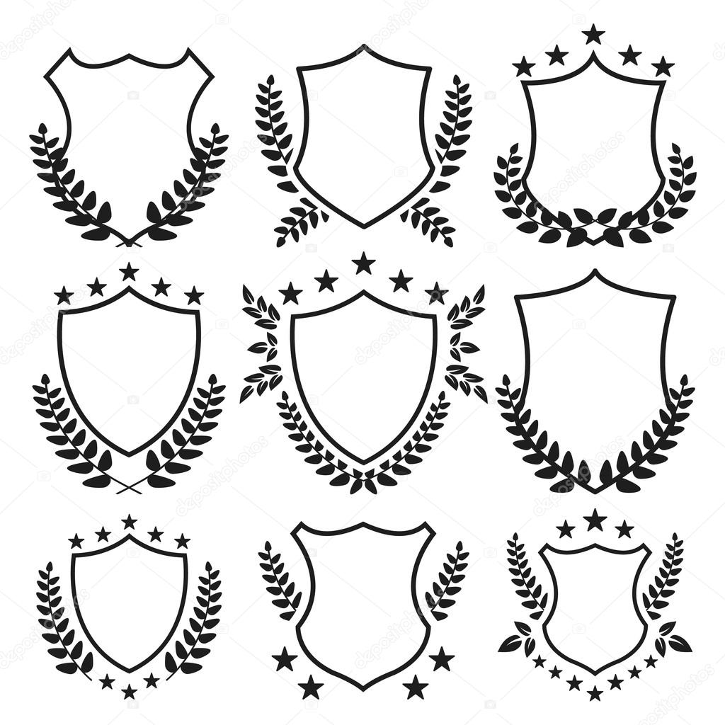 Medieval shields with stars and laurel wreaths set. Vector ...