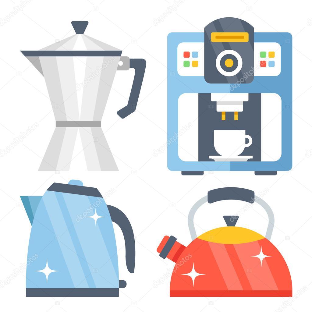 Tea Kettle, Tea Pot, Classic Vintage Aluminum Coffee Maker And Shiny Modern  Coffee Machine