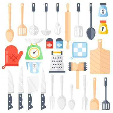 Kitchen tools, cooking equipment, kitchen utensils set. Colorful flat icons set. Vector illustration