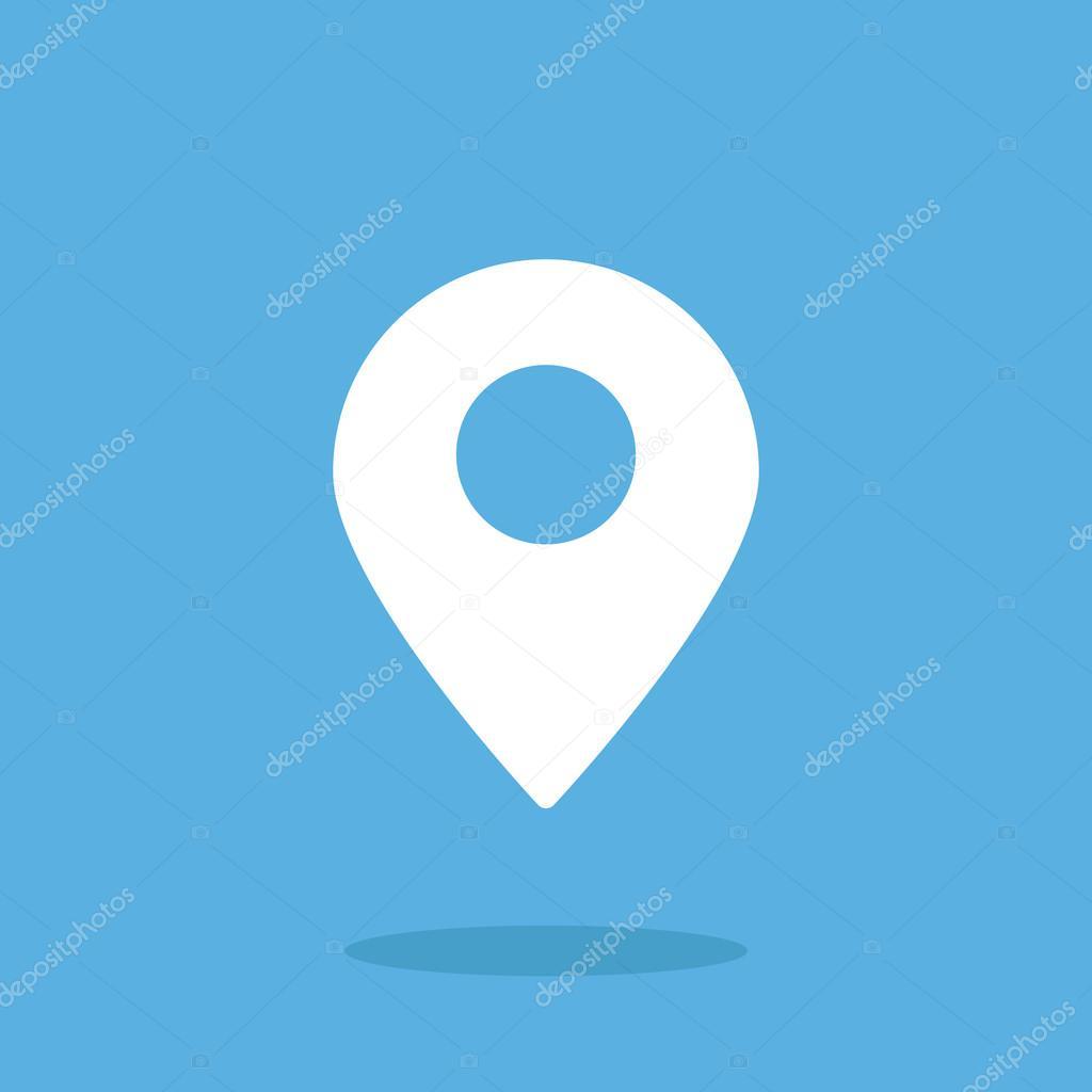 Location icon, map pin  Flat vector icon  White icon — Stock