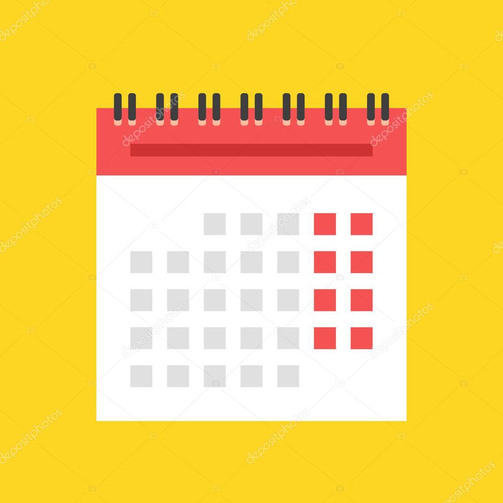 Illustration Calendrier.Calendar Flat Icon Spiral Wall Calendar Vector Illustration