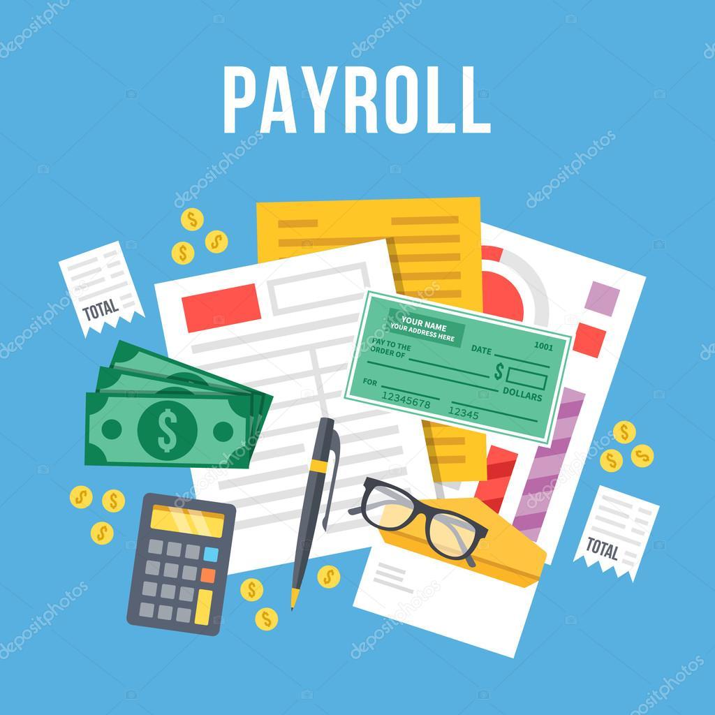 payroll invoice sheet flat illustration payroll template
