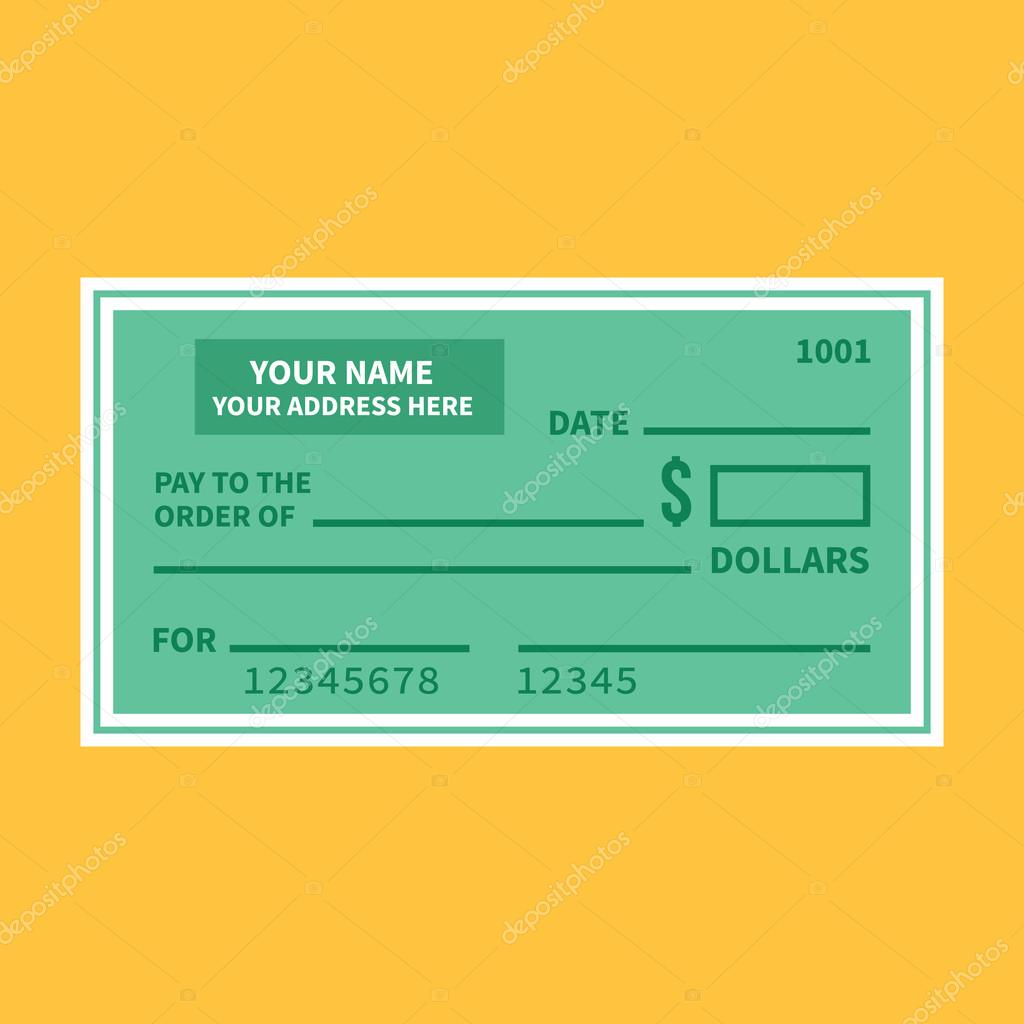 vector bank check template bank cheque with empty fields flat