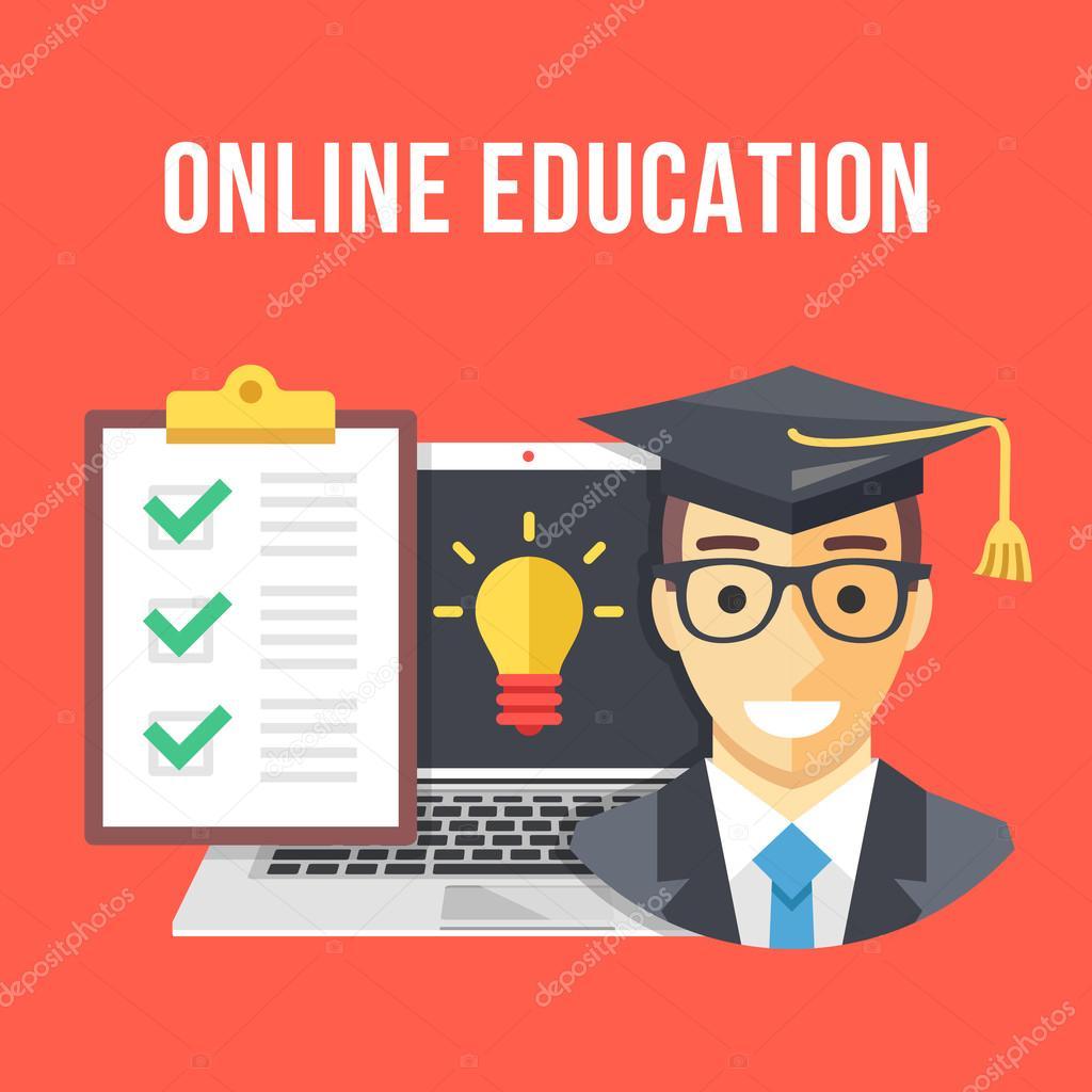 Educación en línea. Icono de estudiante, portátil y bombilla ...