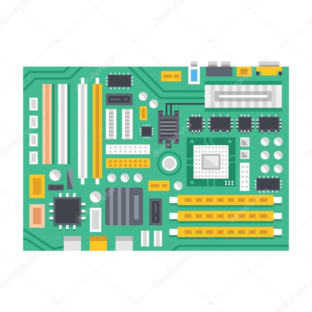 Vector Motherboard Illustration Computer Main Printed Circuit Board Wiring Design Flat Stock