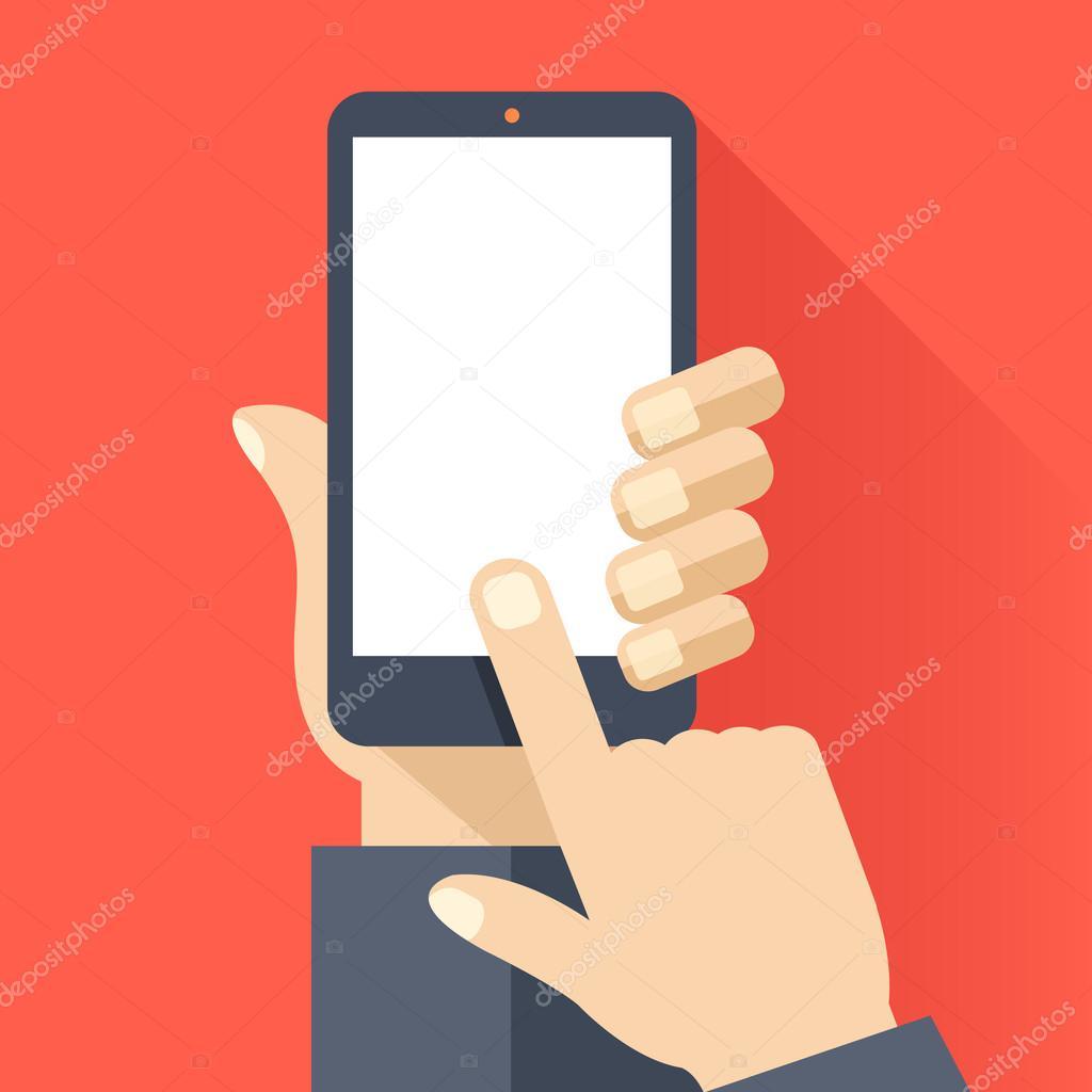 Smartphone con pantalla blanca en blanco. Smartphone, pantalla ...