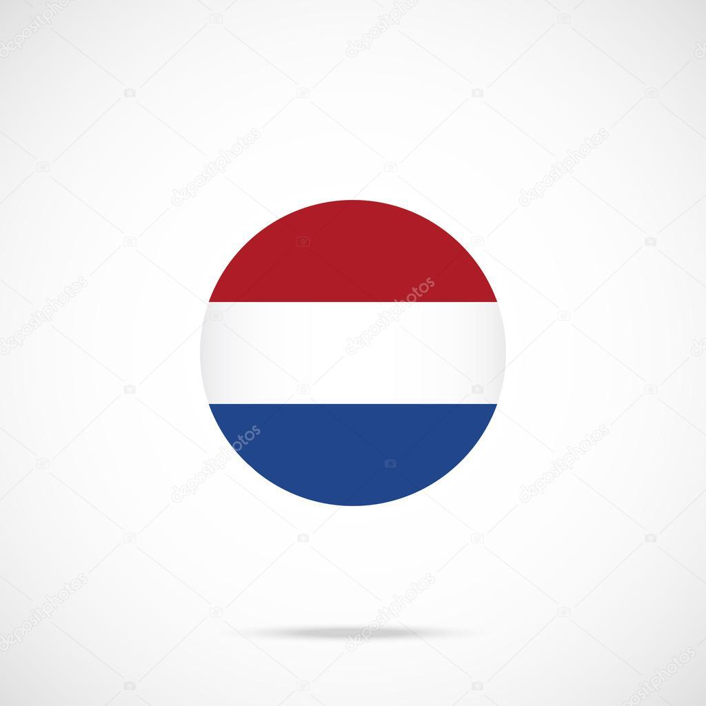 Icona Rotonda Bandiera Olandese Icona Della Bandiera Olandese Con