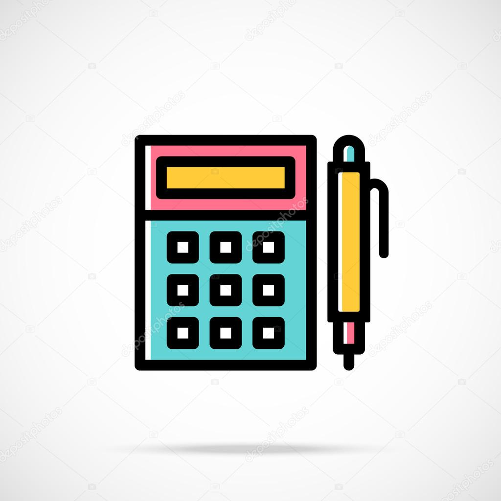 vector calculator and pen icon calculation accounting finance