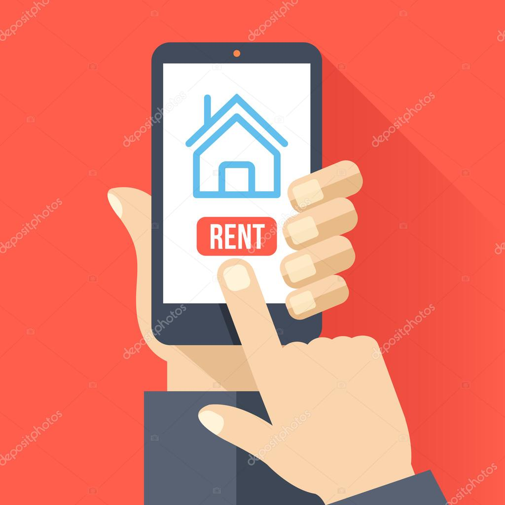 Home Icon On Smartphone Screen. Hand Hold Smartphone