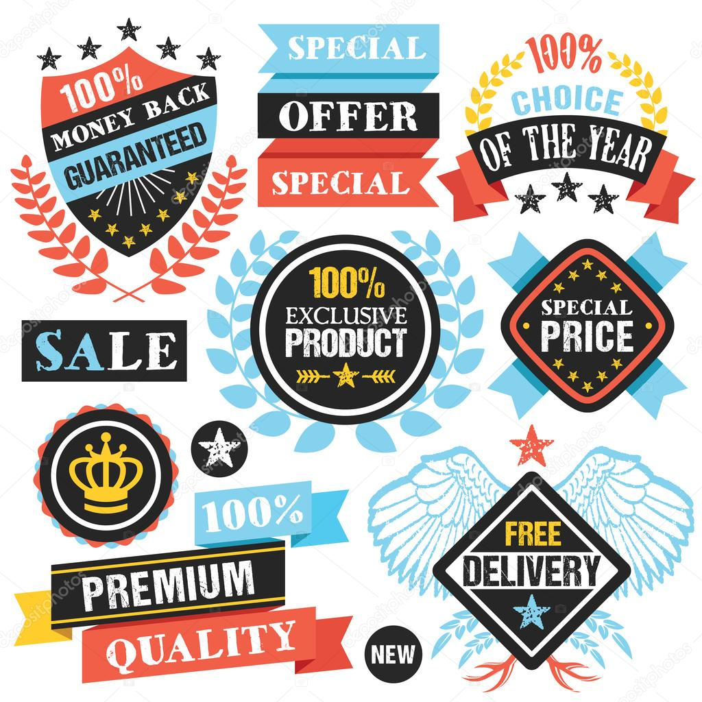 Colorful labels stickers ribbons and badges set creative flat design graphic elements for banners web sites infographics printed materials