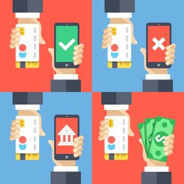 Hands holding credit cards, smartphones and money. Mobile payment, mobile banking, cashback concepts. Modern flat design vector illustrations set
