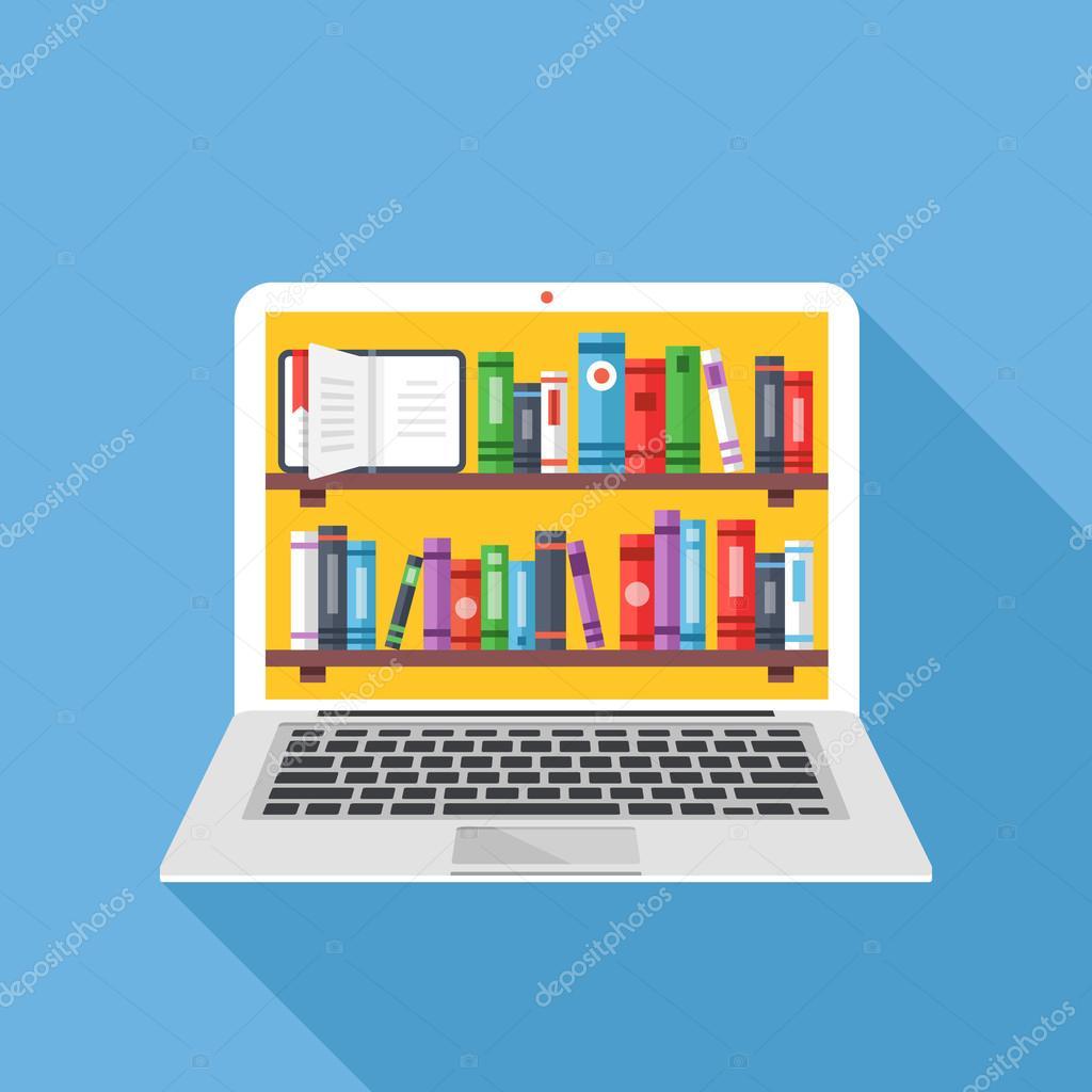 Estanter as con los libros en pantalla de laptop - Estanterias diseno para libros ...
