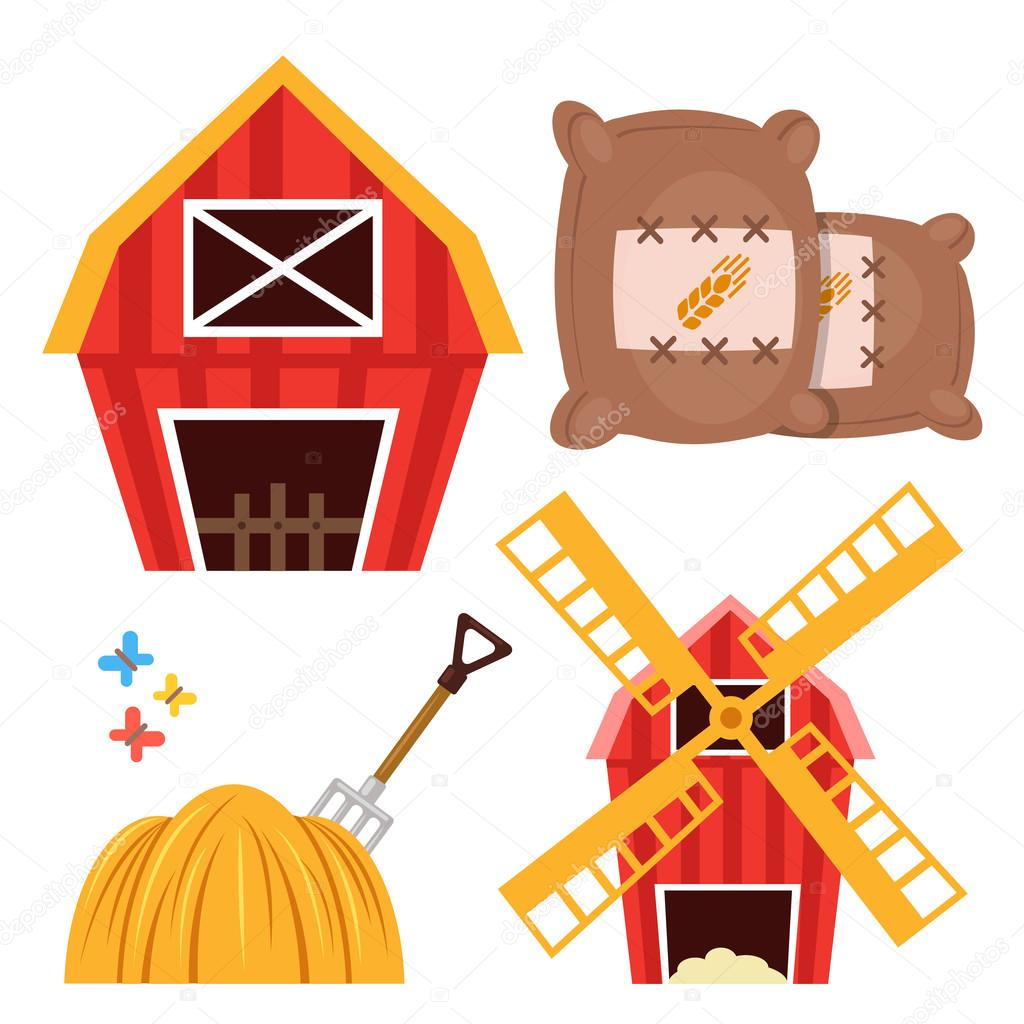 farm set barn brown wheat bags haystack and forks windmill