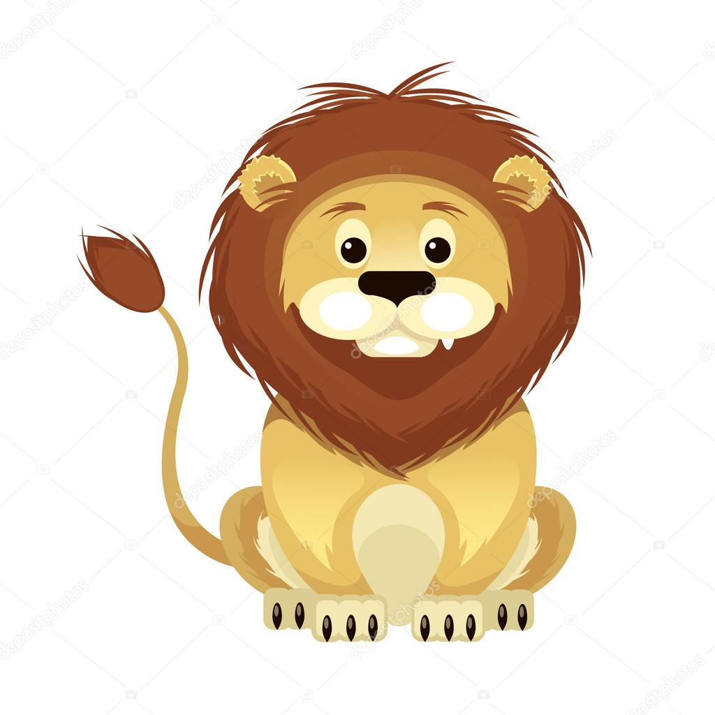 Vector Flat Cartoon Lion Illustration