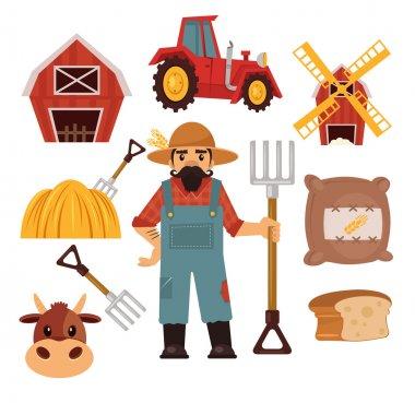 Stock vector farm flat illustration simple icon set