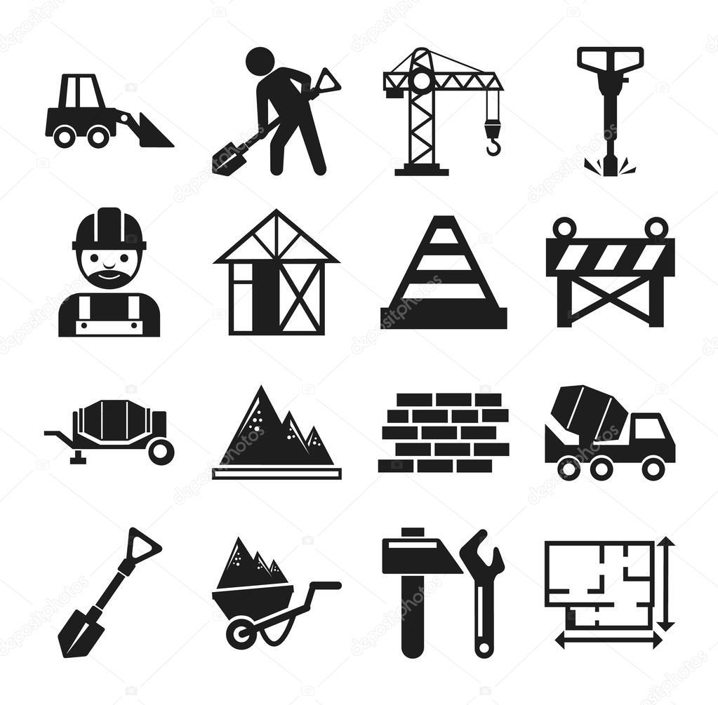Icons Trading Error Log: Stock Vector Construction Pictogram Simple Black Icon Set