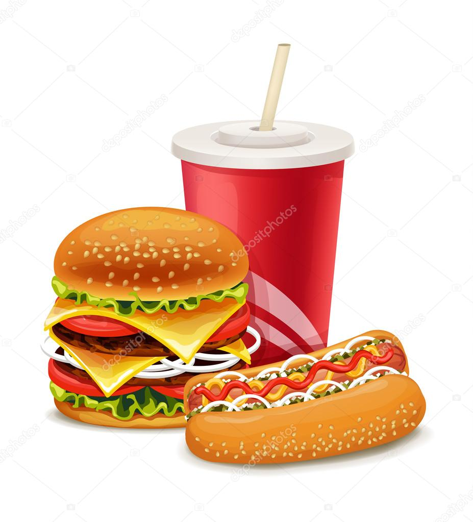 Fast food banner with hot dog and soda