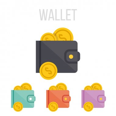 Vector wallet and coins icons.