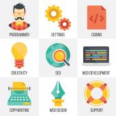 Vektor vývoj webu, seo a web design ikony nastavit. Sada 4