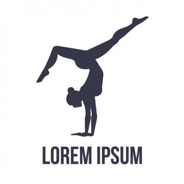 Acrobatic gymnastics logo with woman silhouette