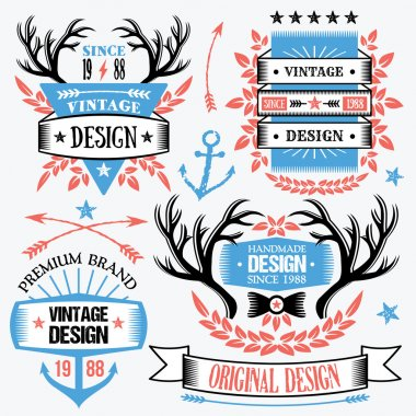 Trendy ribbon banners and badges set.