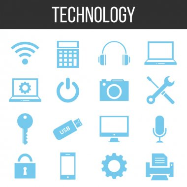 Vector technology and electronics icons set