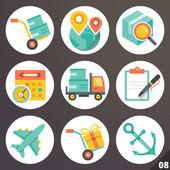 Fényképek Színes vektoros ikonok a webes és mobil alkalmazások. Nyolc