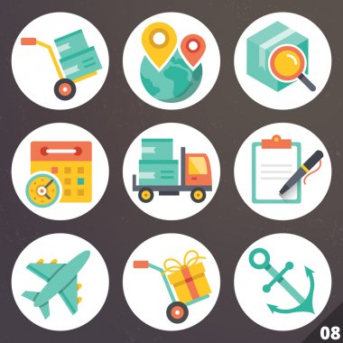 Colorful vector icons for web and mobile applications. Set 8