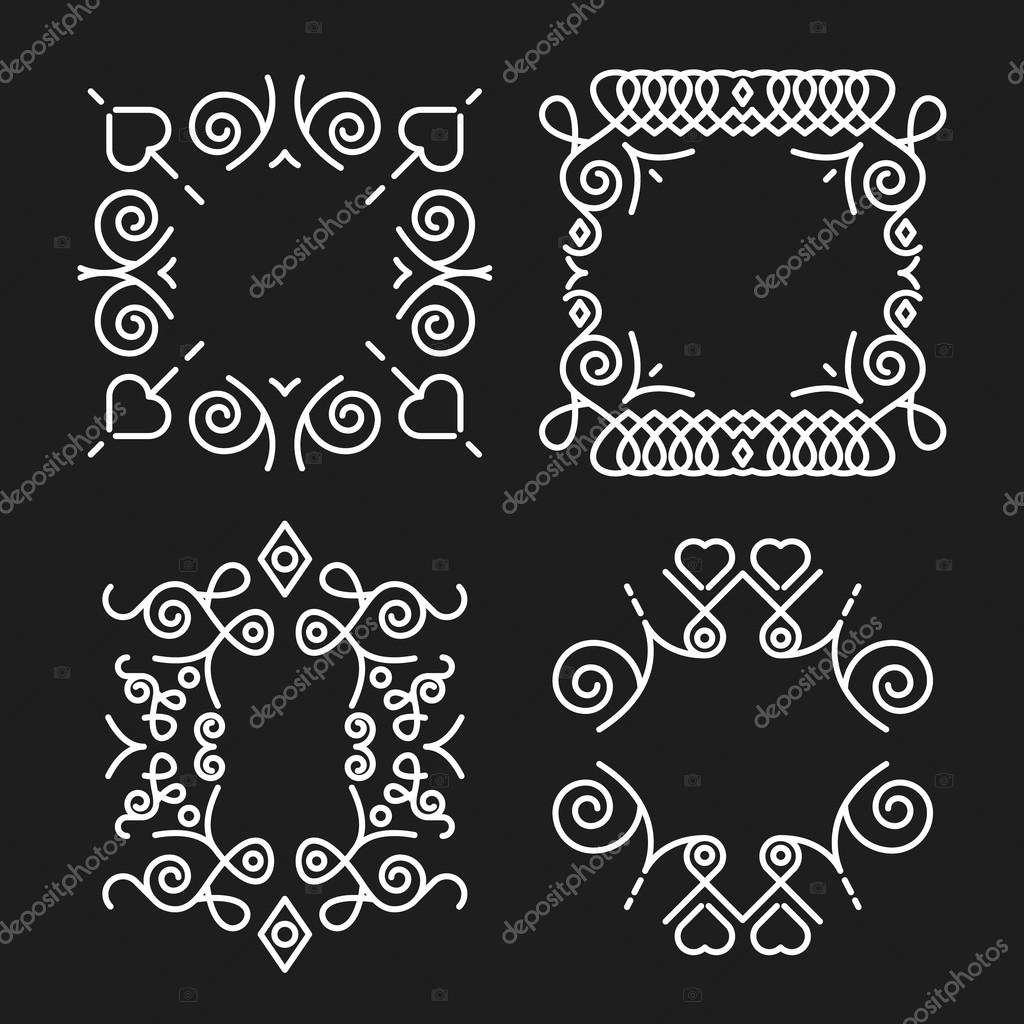 Conjunto de Marcos Vintage concepto monograma — Vector de stock ...