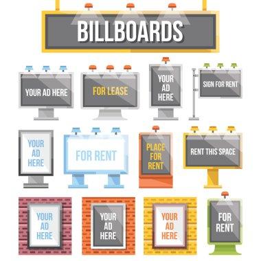 Trendy flat billboards, outdoor advertising set