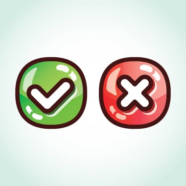 Set of green and red check marks glossy buttons