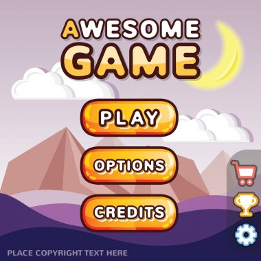 Trendy main menu game interface kit. Creative ui templates for web, mobile and computer video games. Awesome background, buttons,icons. Suitable for different device sizes.Mystery canyon level concept clip art vector