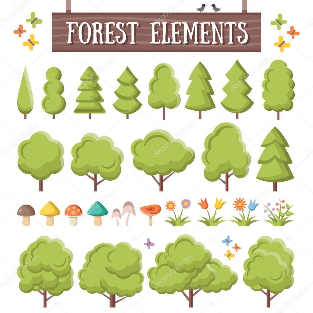 Trendy flat forest elements set. Beautiful trees, mushrooms, flowers, butterflies