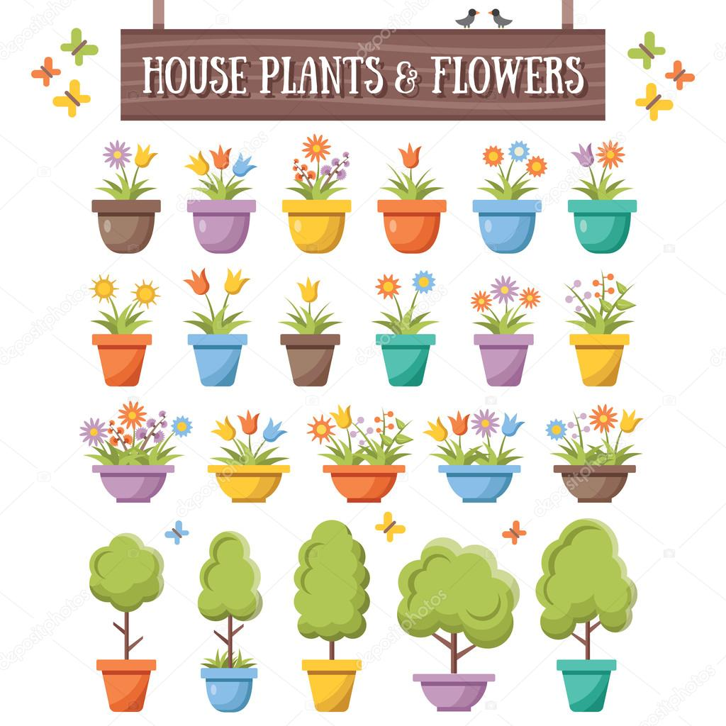 Trendy flat house plants, trees and flowers set