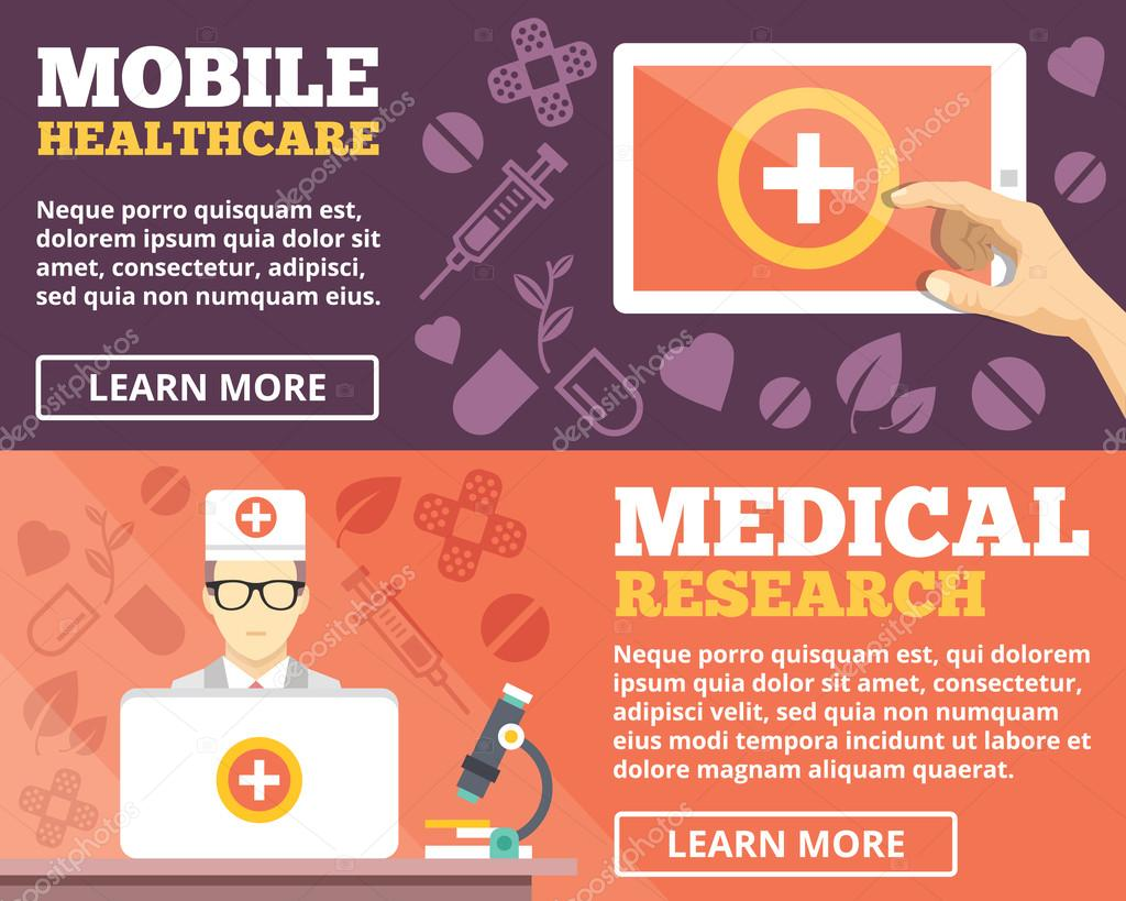 Mobile healthcare and medical research flat illustration concepts set