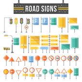 Fotografie Flat road signs set