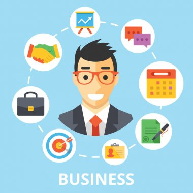 Business concept illustration. Handsome businessman character with trendy flat design icons set