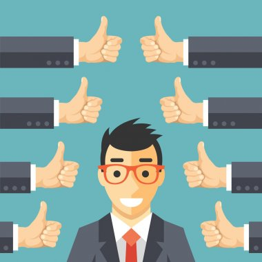 Happy businessman and many hands with thumbs up. Likes and positive feedback concept