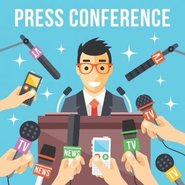 Press conference. Live report, live news concept. Many hands of journalists with microphones, dictaphones and handsome smiling man standing at the rostrum and giving interview. Vector illustration stock vector