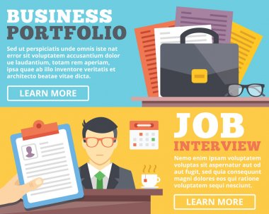 Business portfolio, job interview flat illustration concepts set