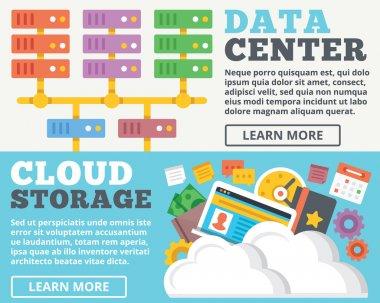 Data center, cloud storage flat illustration concepts set