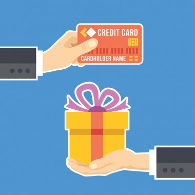 Hand with credit card and hand with gift