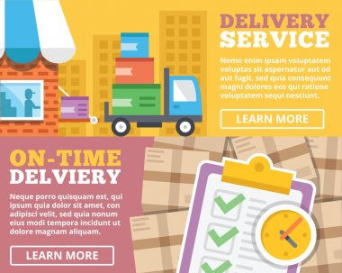 Delivery service, on-time delivery flat illustration concepts set