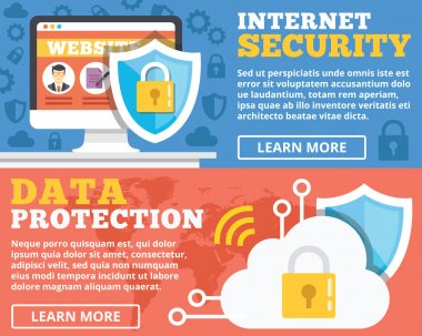 Internet security, data protection flat illustration concepts set