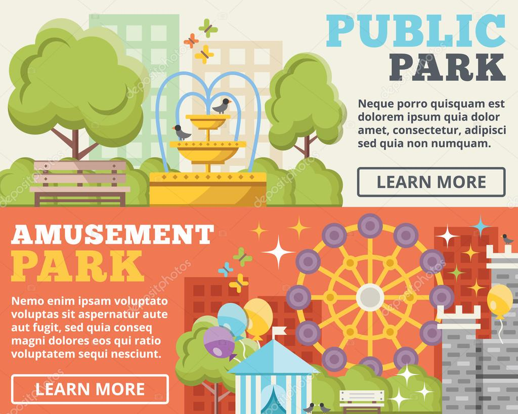Public park, amusement park flat illustration concepts set
